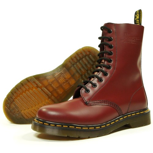 Dr Martens 10 Eyelet 1490 Boot Cherry Red with Yellow Contrast Stitching