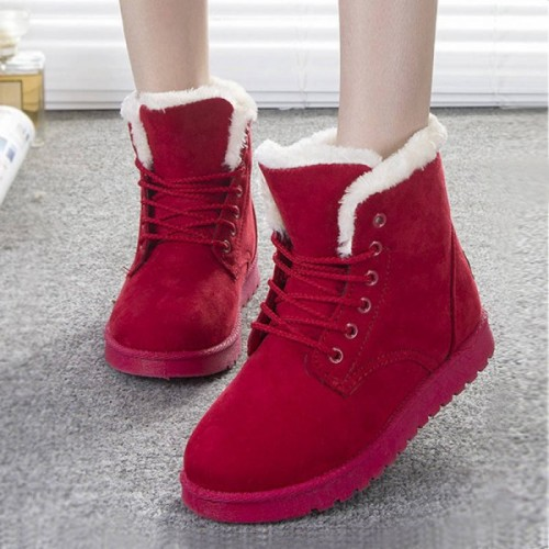 New Fashion Botas Mujer Warm Fur Ankle Boots
