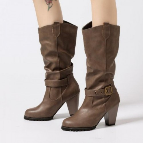 Women Winter Shoes Long Boots Pointed Mid Calf
