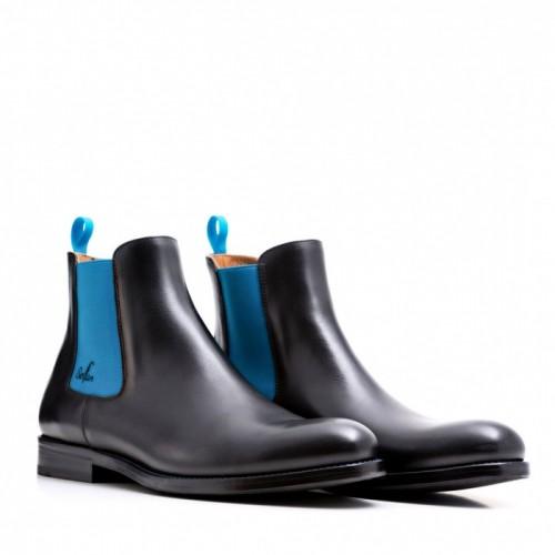 SERFAN CHELSEA BOOT MEN CALF LEATHER BLACK BLUE