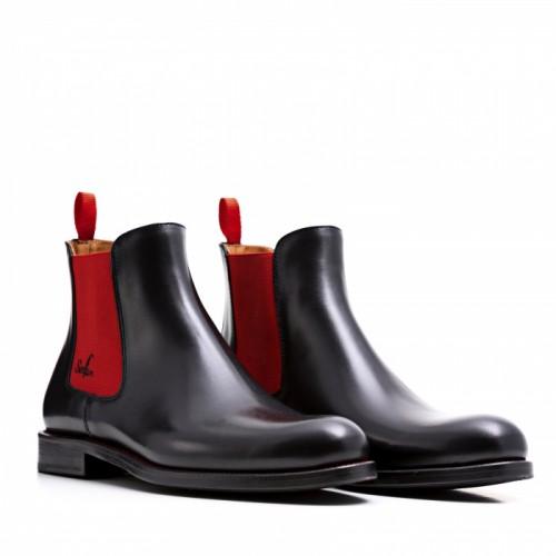 SERFAN CHELSEA BOOT MEN CALF LEATHER BLACK RED