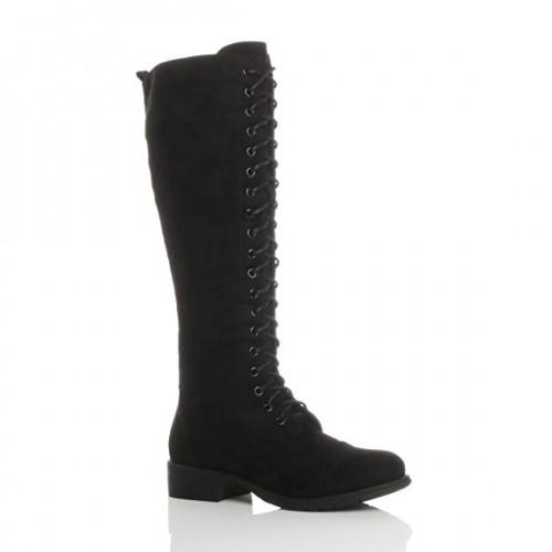 Ajvani Womens Ladies Low Block Heel Lace up Zip Knee High Calf Biker Army Military Boots Size