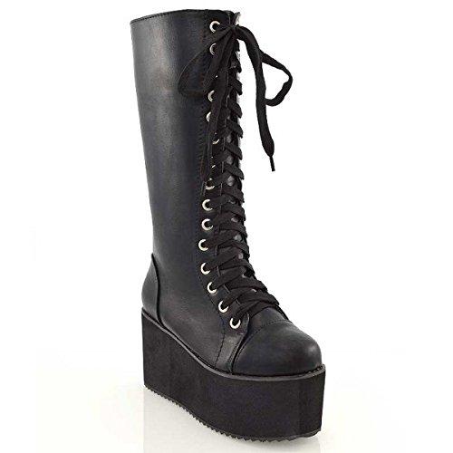 Ladies Knee High Platform Wedge Womens Platform Lace Up Biker Boots