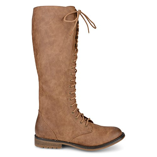 Womens Ladies Mid Calf Flat Pull On Knee Long Lace UP Zip Shoes Boots Size UK 3-8