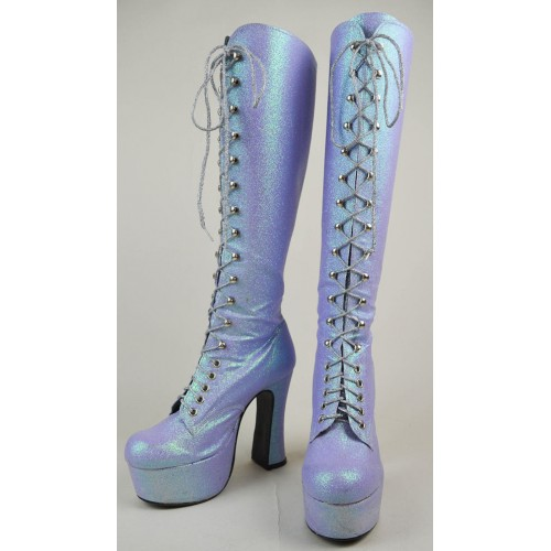 90s Does 70s Lilac Iridescent Glitter Lace Up Knee High Platform Boots Uk 5 / Us 7.5 / Eu 38