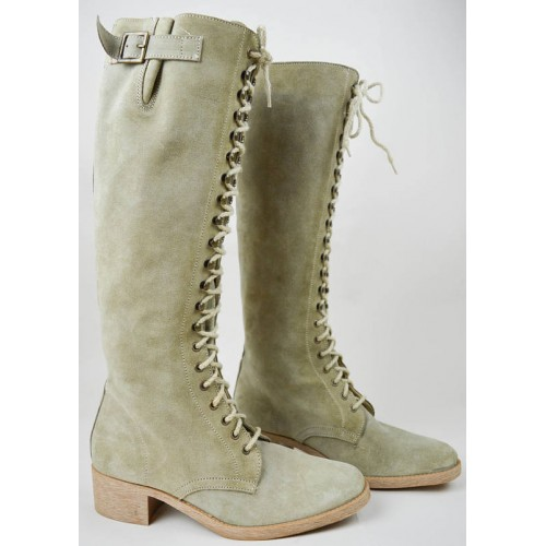 90s Beige Suede Knee High Lace Up Riding Boots UK 6.5 / US 9 / EU 39.5