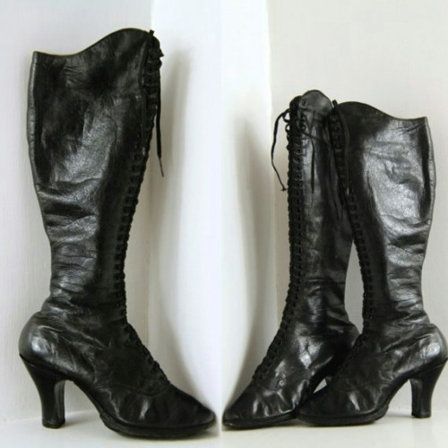 RARE 1920s Fetish or Burlesque Boots. Knee high, laced, high heeled leather boots. Music Hall. Vaudeville.