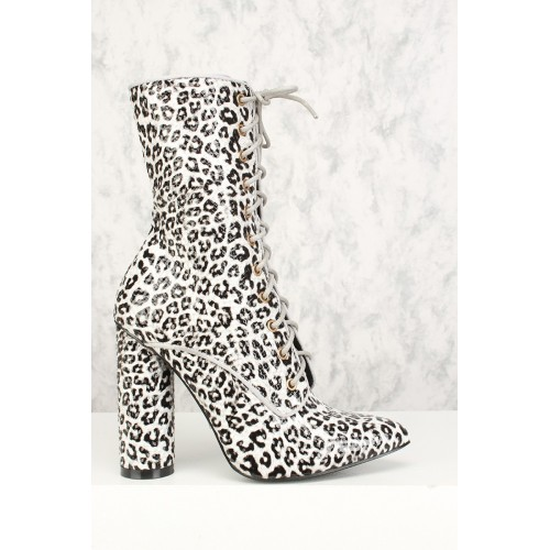Sexy Leopard Lace Up Pointy Toe Chunky Heel Booties