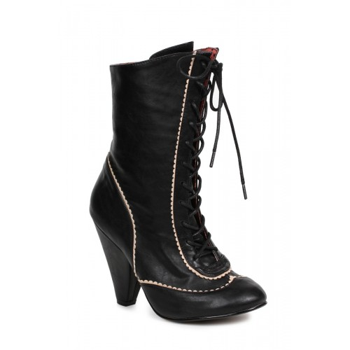 Sexy Black Front Lace Up Chunky Heel Booties Faux Leather