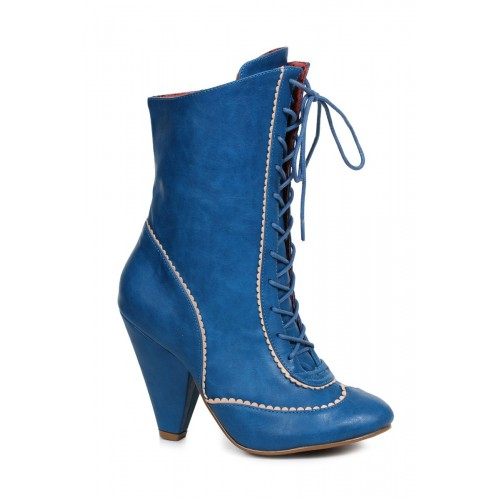 Sexy Blue Front Lace Up Chunky Heel Booties Faux Leather