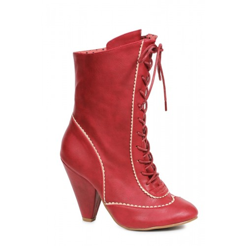 Sexy Burgundy Front Lace Up Chunky Heel Booties Faux Leather
