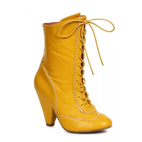 Sexy Yellow Front Lace Up Chunky Heel Booties Faux Leather