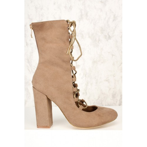Sexy Taupe Mid Calf Closed Toe Chunky Heel Lace Up Booties Faux Suede