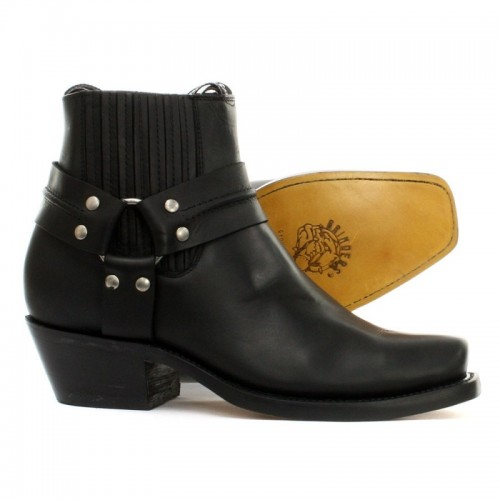 Grinders - Lo Harness Boot - Black - Leather sole