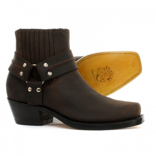 Grinders - Lo Harness Boot - Crazy Horse - Dark Brown - Leather sole