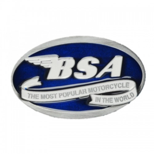 Belt Buckle- BSA Oval Scroll Blue