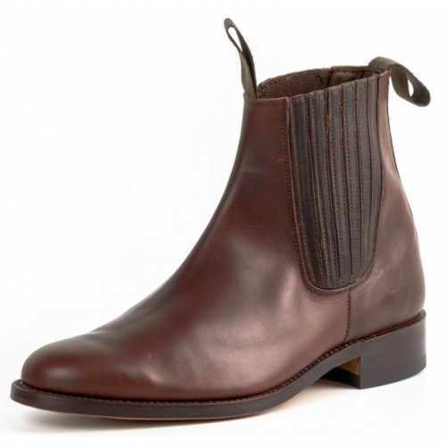 El Estribo - 1692 Ternera Flor Brown Ankle Boots