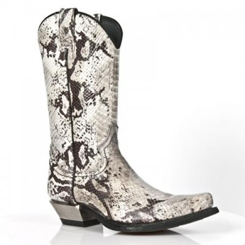 NEW ROCK M.7800-C3 - Faux Snakeskin Cowboy Boots