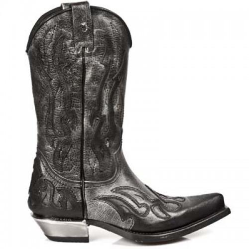 New Rock - M.7921-C11 - Custom Black Buffalo Skin Cowboy Boots