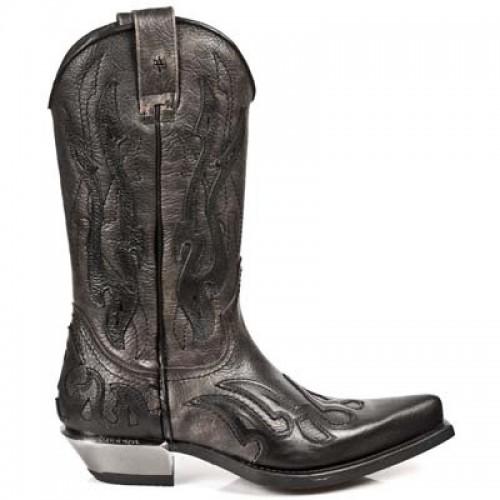 New Rock - M.7921-C12 - Black Flame Buffalo Skin Cowboy Boots