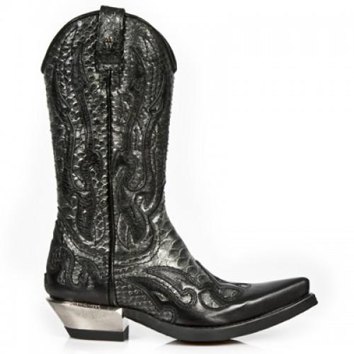 New Rock - M.7921-C14 - Black Faux Snakeskin Cowboy Boots