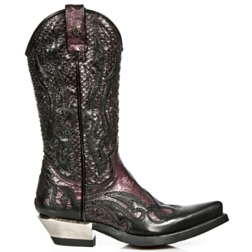 New Rock - M.7921-C15 - Dark Red Faux Snakeskin Cowboy Boots