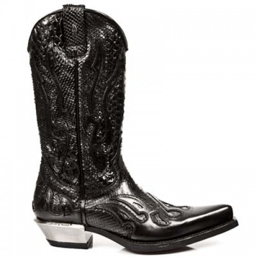 New Rock - M.7921-C1 - Custom Black Buffalo Skin Cowboy Boots