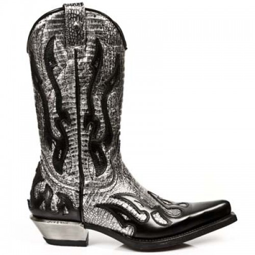New Rock - M.7921-C2 - Silver & Black Faux Snakeskin Cowboy Boots