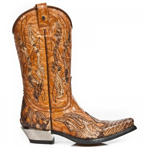 New Rock - M.7921B-C2 - Custom Brown Faux Snakeskin Cowboy Boots
