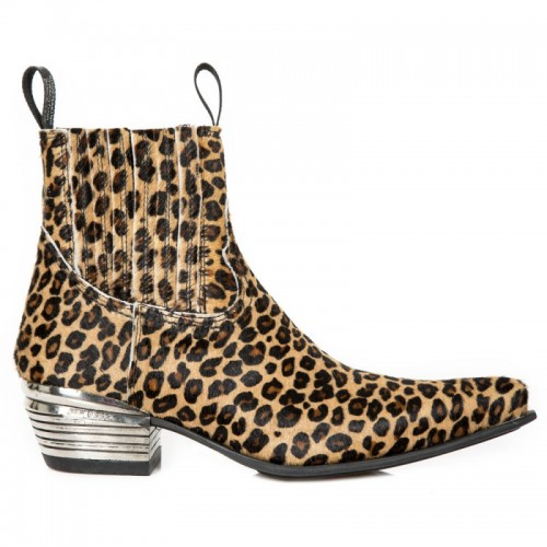 New Rock - M.7953-C26 - Leopard Print Ankle Boots