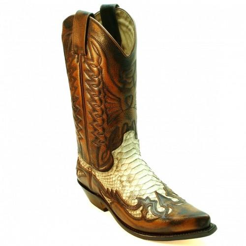 Mayura 125 Cowboy Boot 2-Tone Brown/Genuine Snakeskin