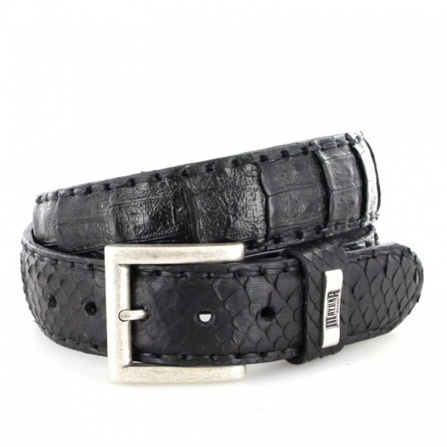 Mayura 227 Crocodile/Python Belt Black
